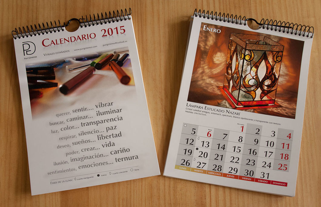 Calendario personalizado, realizado con InDesign.